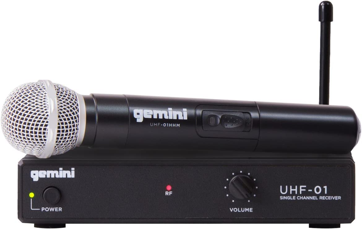 Gemini, 1 Professional Audio DJ Equipment Superior Single Channel Wireless UHF System and Handheld Microphone with 150ft Opereating Range, (UHF-01M F4)