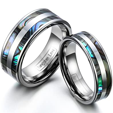 Partnerringe wolfram  JewelryWe Schmuck 1 Paar Wolfram Wolframcarbid Poliert mit Abalone ...