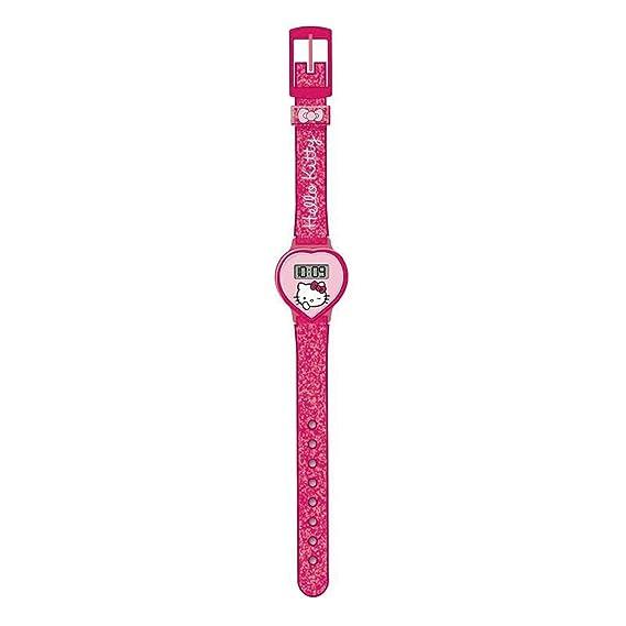 Hello Kitty HK25916 Reloj digital para niña, de cuarzo con correa de plástico rosa e ilustraciones de Hello Kitty: Amazon.es: Relojes