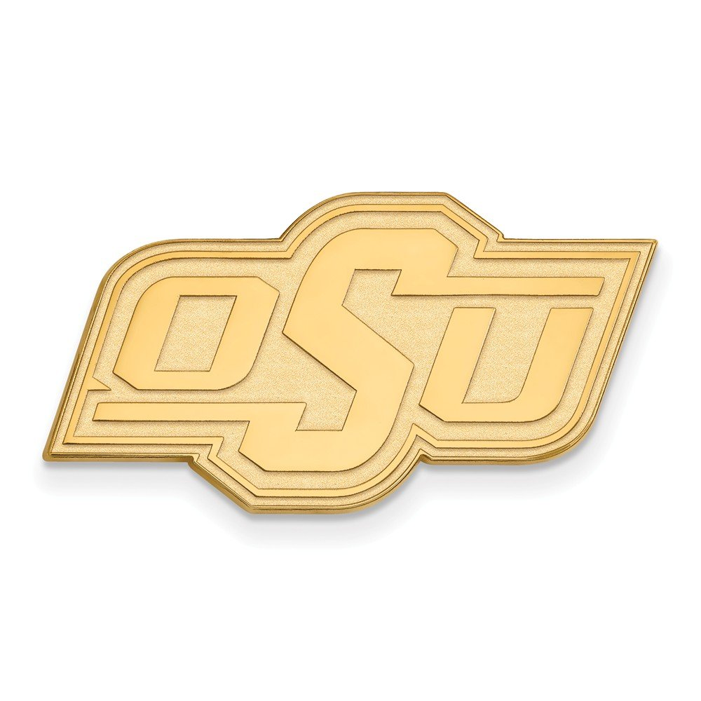 Solid 925 Sterling Silver with Gold-Toned Oklahoma State University Black Leather Wallet