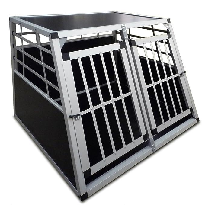 Jaula de transporte para perros - 2 puertas - aluminio y madera ...