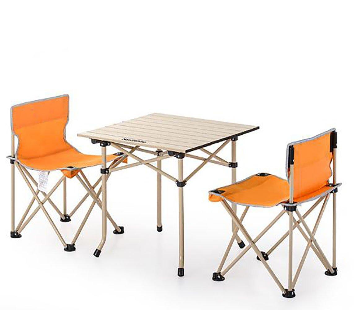 KOKR Outdoor Klapptisch + 2 x Campingstühle Set, Gartenmöbel Campinggarnitur