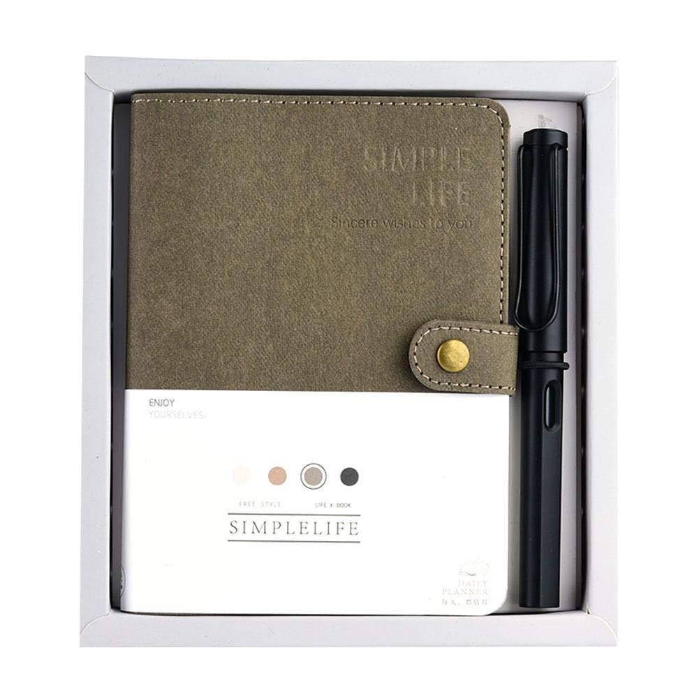 Dark Brown FTVOGUE Port/átil de Cuero Recargable Conjunto Cl/ásico Cuaderno de Viaje de Cuero de La PU Cuaderno de Viaje con Bol/ígrafo Ournal