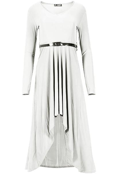84e6546bdac1 Womens Maxi Dress Ladies Flared Franki Belt Dip Hem Chiffon High Low Midi  Dress