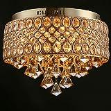 Modern Silver Crystal Pendant Light Iron Shade Crystal Flush Mount Chandelier, Home Ceiling Light Fixture,Led Pendant Lamp E12/14 Warm White