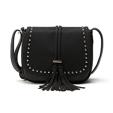 cf1e22007793 Image Unavailable. Image not available for. Color  REPRCLA Tassel Shoulder  Bag PU Leather Women Crossbody ...