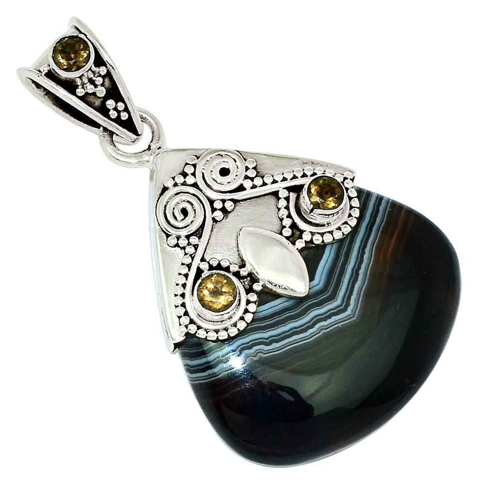 Xtremegems Owl Black Botswna Agate /& Smoky Quartz 925 Sterling Silver Pendant Jewelry 1 5//8 30655P