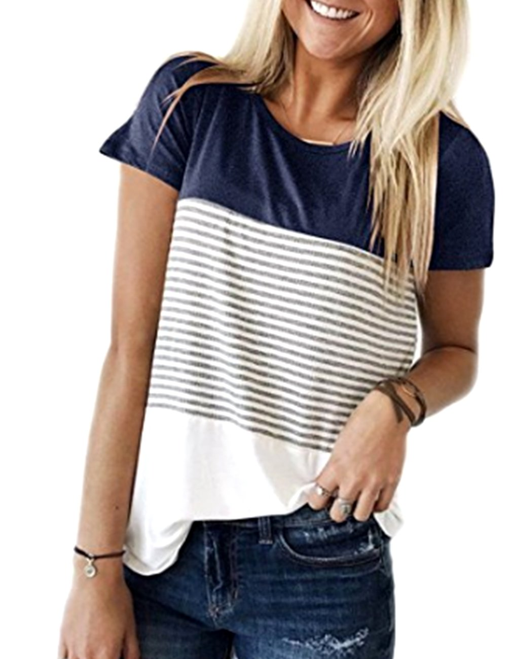 Miskely Women's Summer Short Sleeve Striped Blouse Junior Casual Tunic Tops T-Shirt (Small, Navy Blue) by Miskely (Image #1)