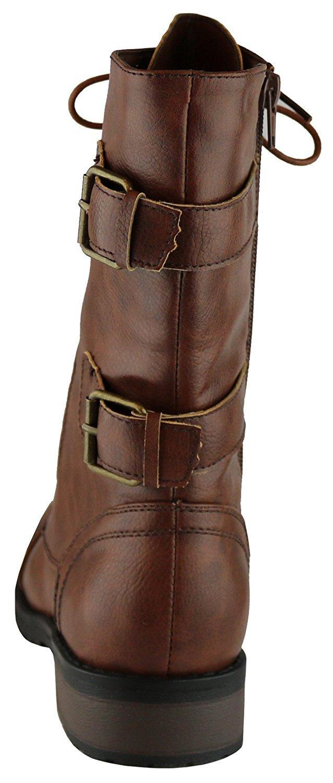 8b0ed0c51 Botines de combate de invierno para mujeres tobillo a media pantorrilla  suela de tacón botas de moto militar Brown-20