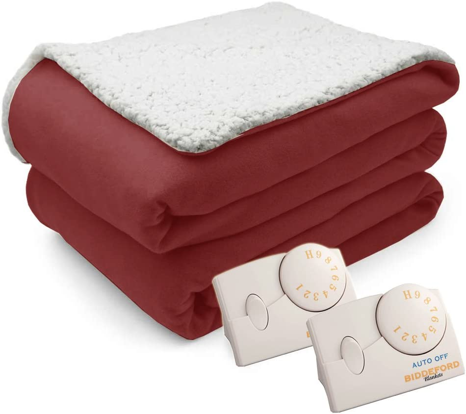 Pure Warmth Comfort Knit Natural Sherpa Electric Heated BlanketQueen Brick