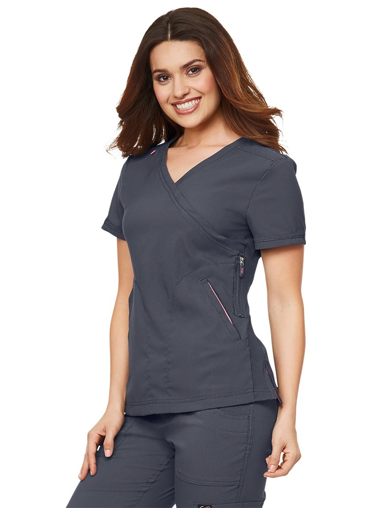 KOI Lite Women's Philosophy 316 Mock Wrap Side Zipper Scrub Top- Charcoal- Small