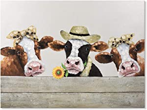 SEVEN WALL ARTS Abstract Funny Sunflower Cow Painting Canvas Wall Art Dairy Cattle Picture Print Rustic Farm Animal Artwork for Bathroom Bedroom Kitchen Living Room Farmhouse Home Decor 12