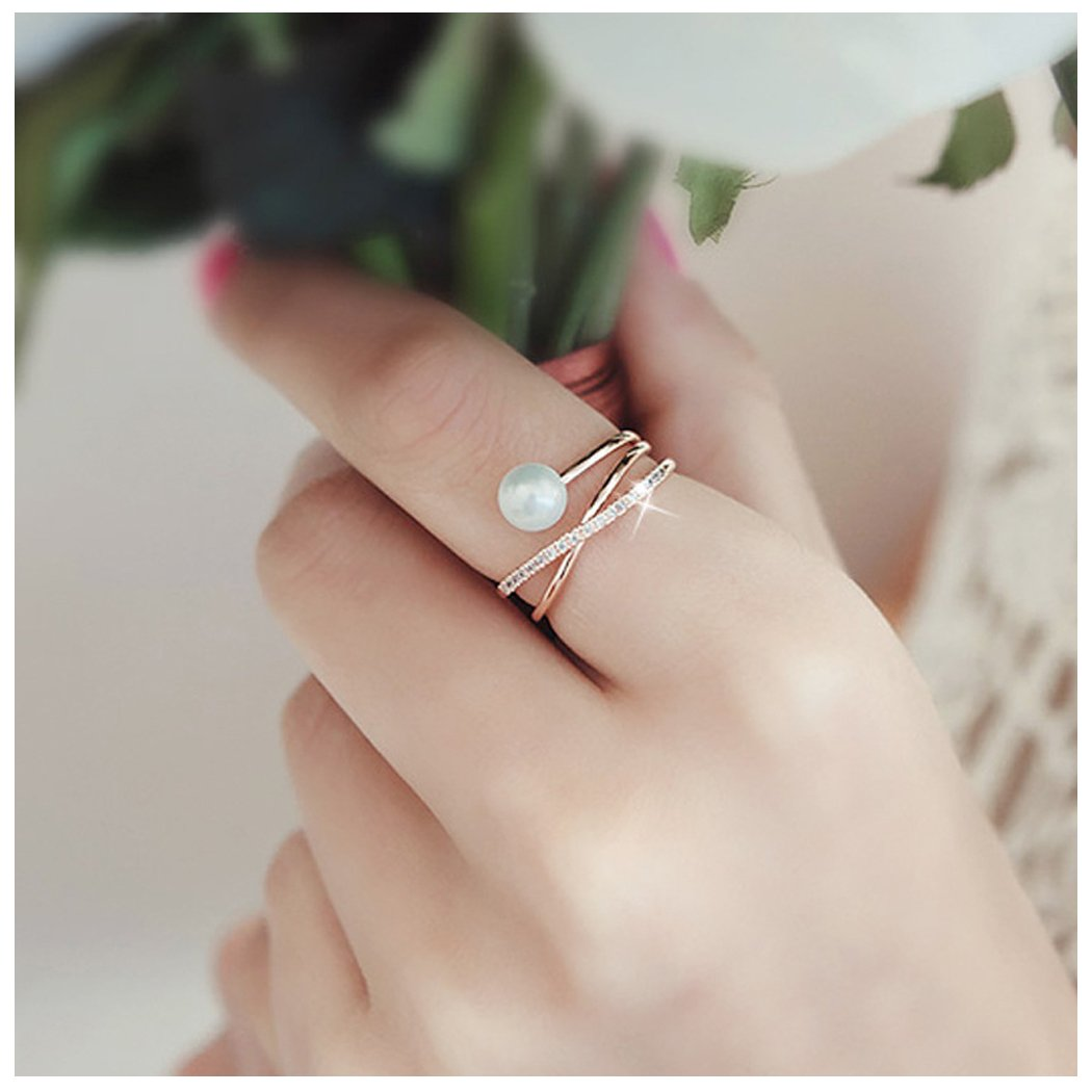 Freshwater Pearl with 14K Rose Gold Plated X Ring CZ Criss Cross Stackable Finger Rings Adjustable CHICY UK_B07C121V92
