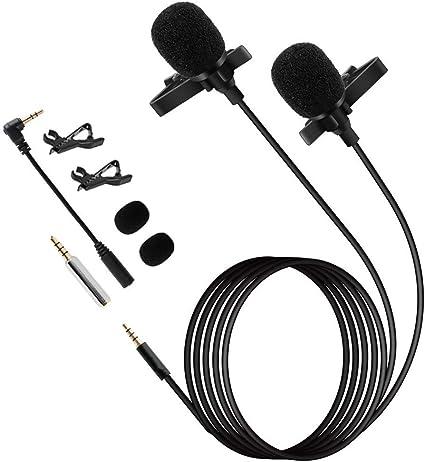 Muslady Clip Micrófono Direccional Omnidireccional de Condensador Doble Cabeza Smartphone Computadora Solapa Micrófono: Amazon.es: Instrumentos musicales