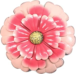 Large Metal Flower Wall Decor Hanging For Farmhouse Bathroom Decorations Kitchen Bedroom Living Room Metal Flower Wall Art And Outdoor Metal Flower Wall Decor For Garden ,Patio 12.2 Inch,Pink
