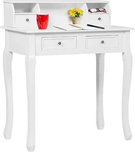 Best Choice Products 32in Wooden Colonial Writing Desk Station For Home Office Study W 4 Drawers 2 Cubbies Floating Hutch White Furniture Decor Amazon Com