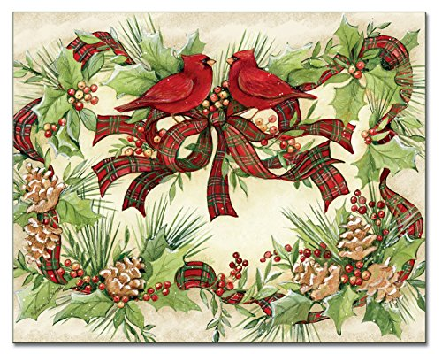(Counter Art Cardinal Wreath Glass Cutting Board, 15