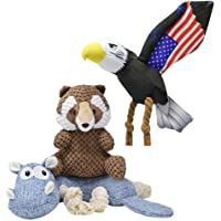 Beewarm Squeaky Dog Chew Toys for Large Medium Small Dogs - Stuffed Animals Rope Chew Toy for Puppy Animals Combo