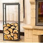 DanDiBo Etagère bois de cheminée Porte bois de chauffage 100cm Gris 80003 Corbeille bois Porte bois de cheminée Etagère