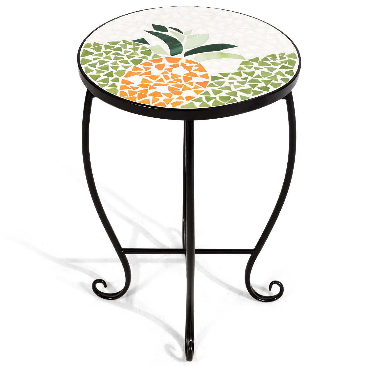 Giantex Mosaic Round Side Accent Table Patio Plant Stand Porch Beach Theme Balcony Back Deck Pool Decor Metal Cobalt Glass Top Indoor Outdoor Coffee End Table (Sweet Pineapple)