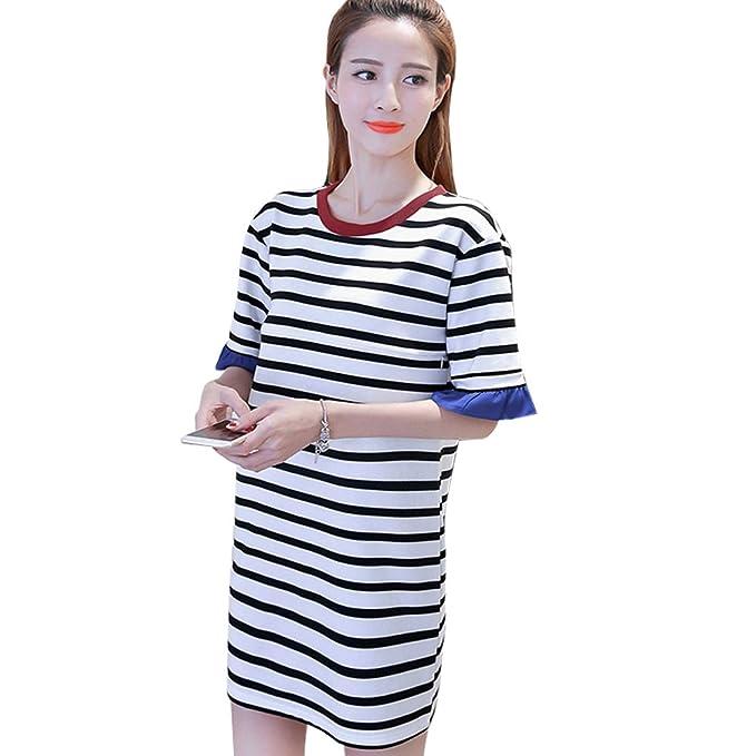 ZEVONDA Embarazo Vestido Lactancia Mujer - Moda Clásico Raya Premamá Blusa Maternidad de Manga Corta Camiseta Vestidos Verano: Amazon.es: Ropa y accesorios
