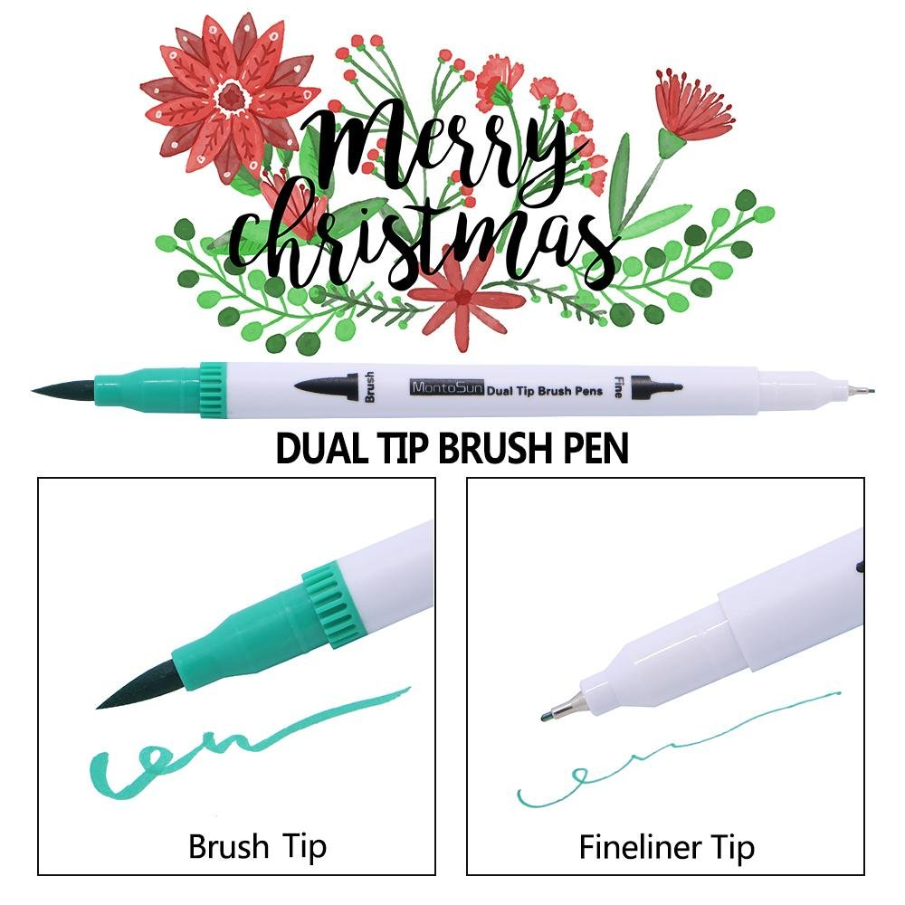 60 Dual Tip Brush Pens Art Markers,MontoSun Coloring Marker Pens Fine Liners and Brush Tip Colored Pen for Adult Drawing Sketching Painting by MontoSun (Image #4)