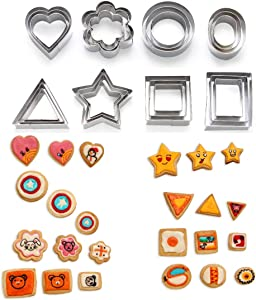 SurgeHai Cookie Cutters Set -24 Pieces Biscuit Cutters -3 Hearts Shape, 3 Stars Shape, 3 Flowers Shape and 15 Geometric Shape, Stainless Steel Pastry Cutters