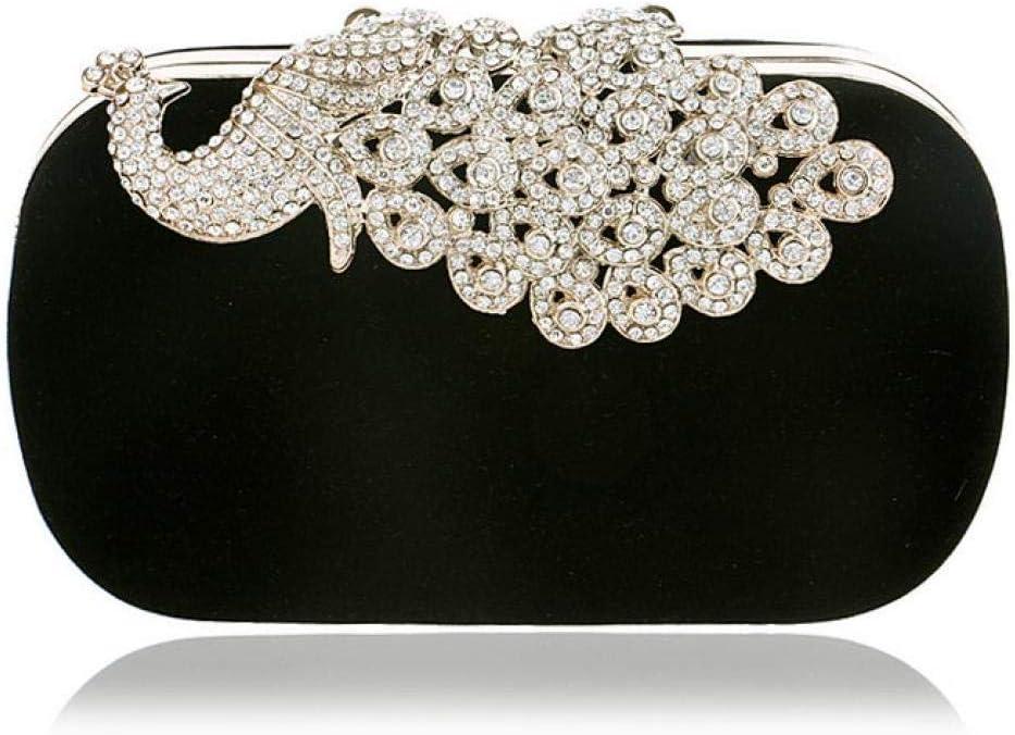 PU Women Messenger Chain Shoulder Handbags Beaded Handmade Style Metal Diamonds Evening Bags Leather Fashion Purse Bags