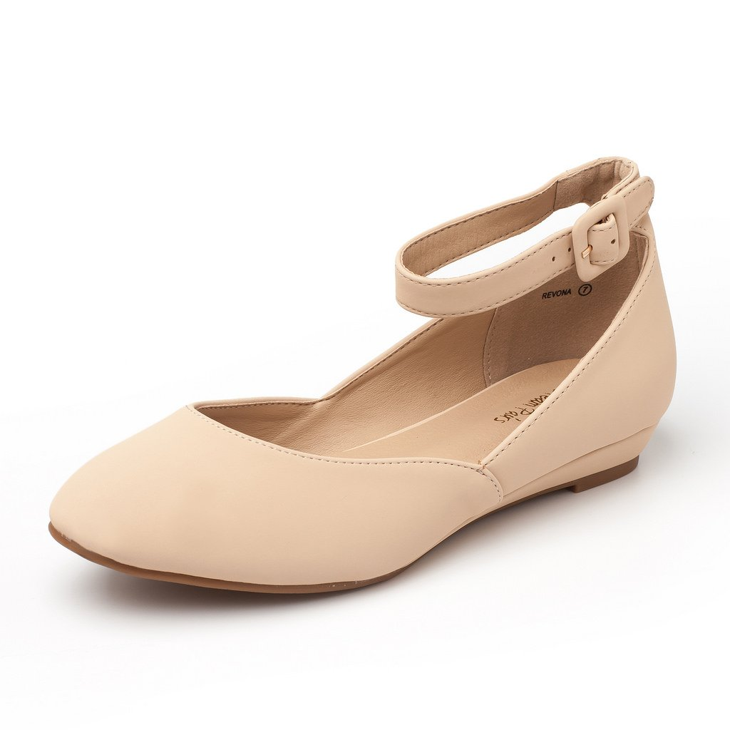 DREAM PAIRS Women's Revona Nude Nubuck Low Wedge Ankle Strap Flats Shoes - 6.5 B(M) US