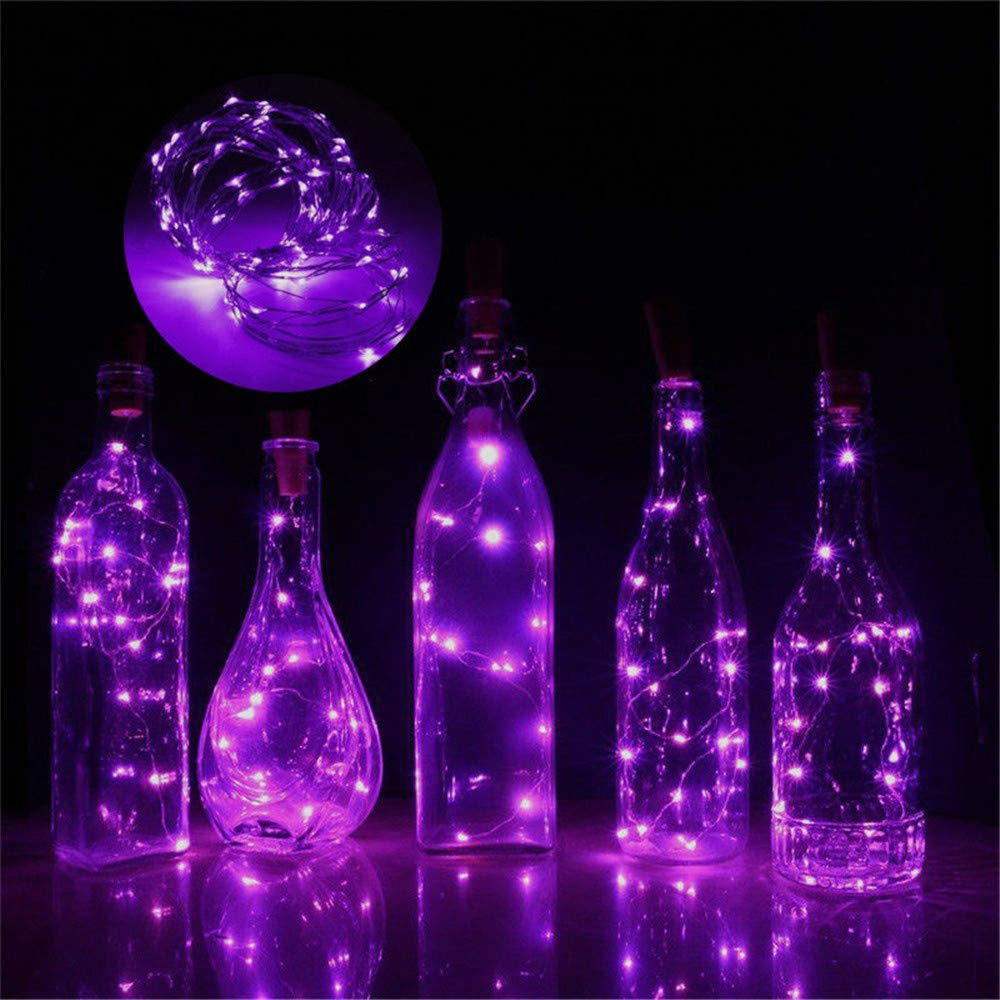 DICPOLIA Home Supplies 1M Wine Bottle Lights with Cork, 10 LED Battery Operated LED Cork Shape Silver Copper Wire Colorful Fairy Mini String Lights for DIY, Party, Decor, Christmas, Halloween,Wedding