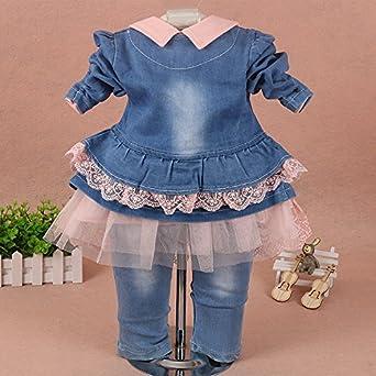 YAO 3 Pieces Denim Clothing Set Long SleeveDress Floral Denim Jacket Coat and Jeans