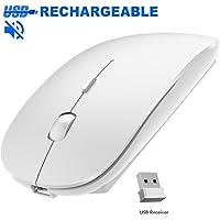 YOMYM Mouse/Ratón óptico Inalámbrico Recargable 2.4 G, Puños Ergonómicos, Ideal para Ordenadores portátiles, PCs, Otros Dispositivos Inteligentes, Blanco