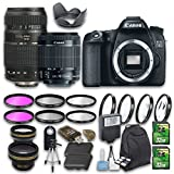Canon EOS 70D DSLR Camera Bundle with Canon EF-S 18-55mm f/3.5-5.6 IS STM Lens + Tamron Zoom Telephoto AF 70-300mm Lens + Wideangle Lens + Telephoto Lens + 2 PC 32 GB Cards + 6 PC Filter Kit