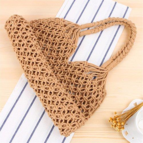 Bags para Mujeres Rope Ahueca Mano Bolsos De A Beach Straw Las Fuera Handbags Cotton Mimbre Knitting 100 Hechos hacia Gold Los qHHTP7E