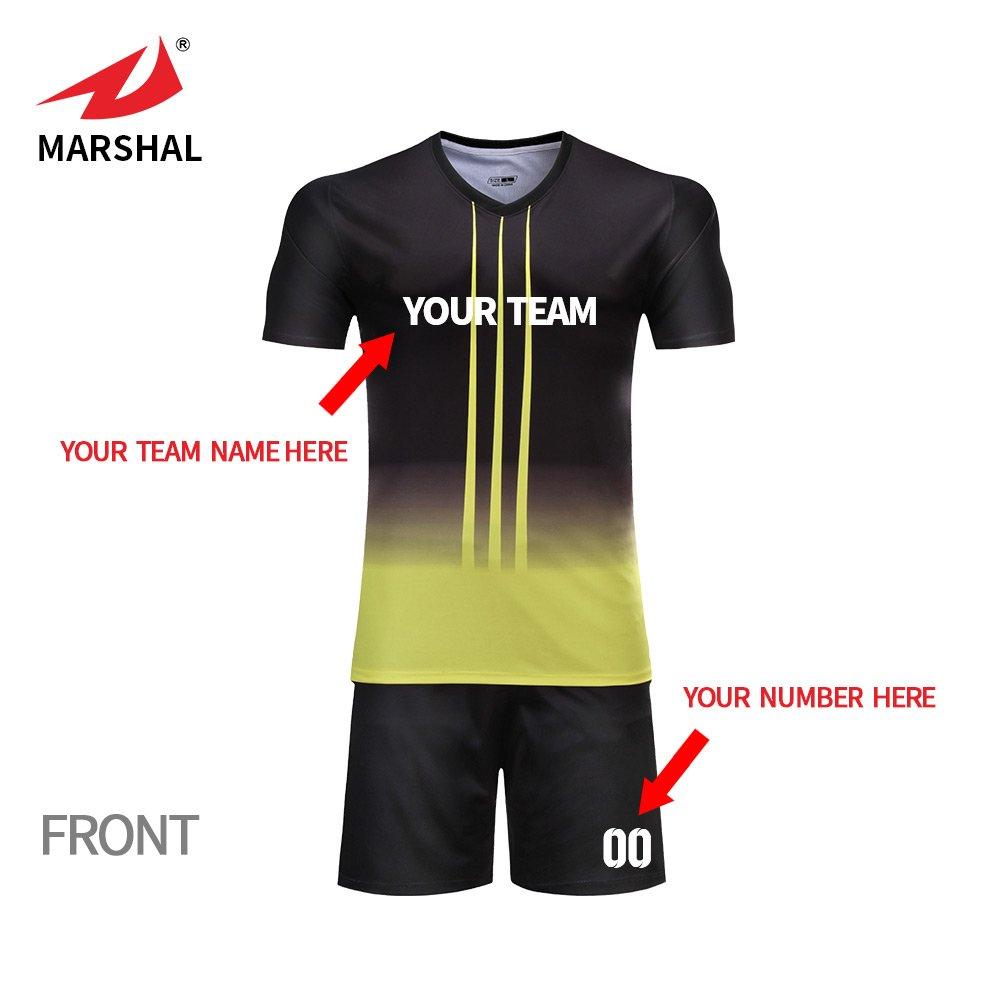 01b4bd18a ZHOUKA Mens yellow with black football jerseys custom shirts youth futbol kit  soccer uniforms  Amazon.co.uk  Sports   Outdoors