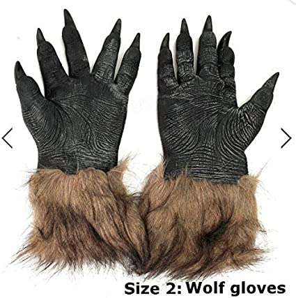 Latex Rubber Wolf Head Hair Mask Werewolf Gloves Party Scary Halloween Cosplay