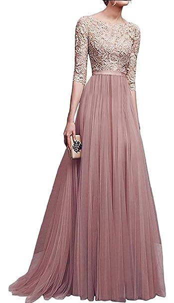 be4f463f8 Qiangjinjiu - Vestido de encaje para mujer, manga larga, vestido de fiesta  de noche