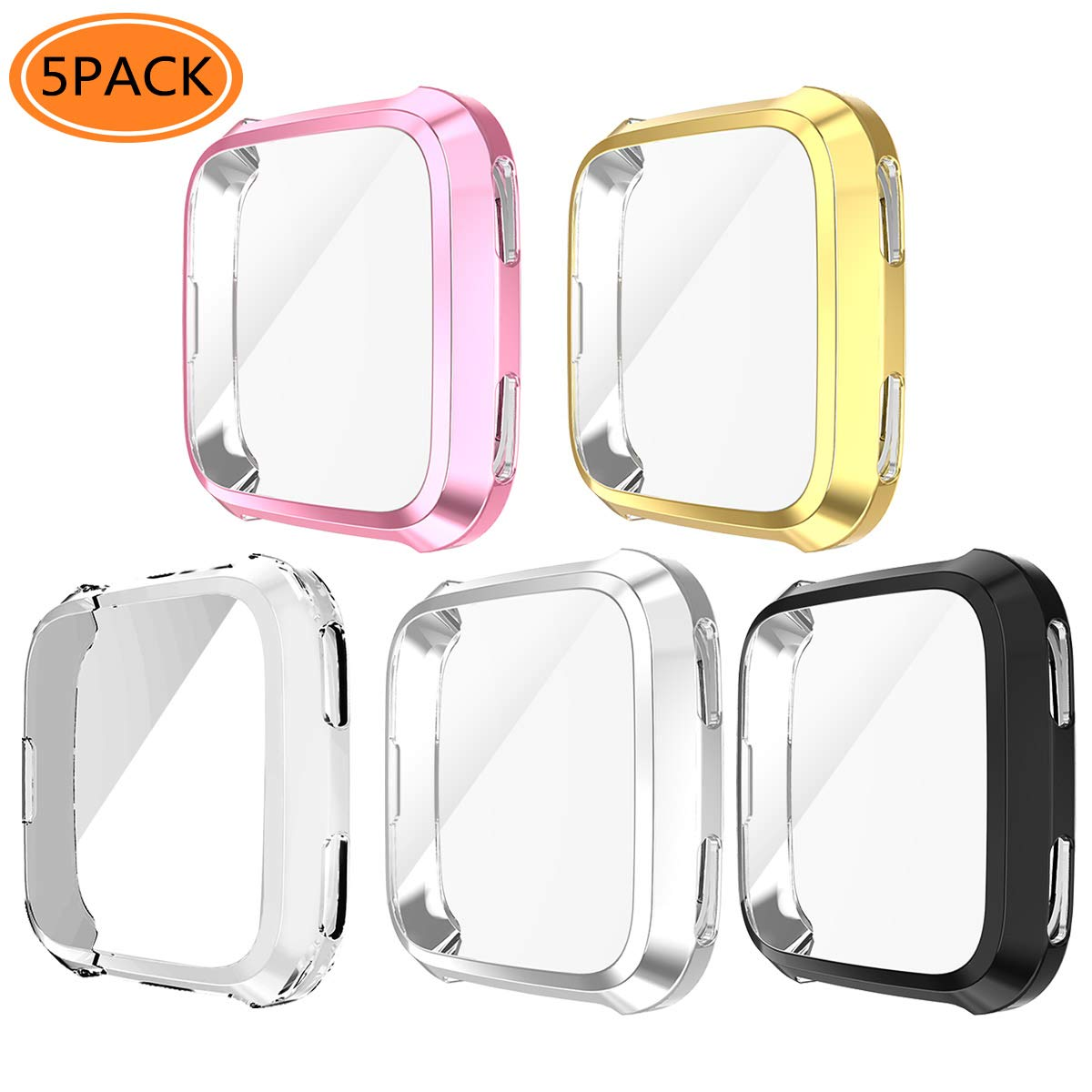 Case for Fitbit Versa, iHYQ Soft TPU Slim Fit Full Cover Screen Protector for Fitbit Versa Smart Watch (5 PACK) by iHYQ