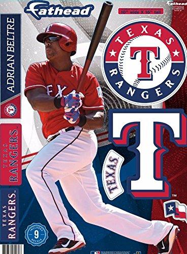 "Adrian Beltre FATHEAD Texas Rangers Logo Set Official MLB Vinyl Wall Graphics 17"" INCH"