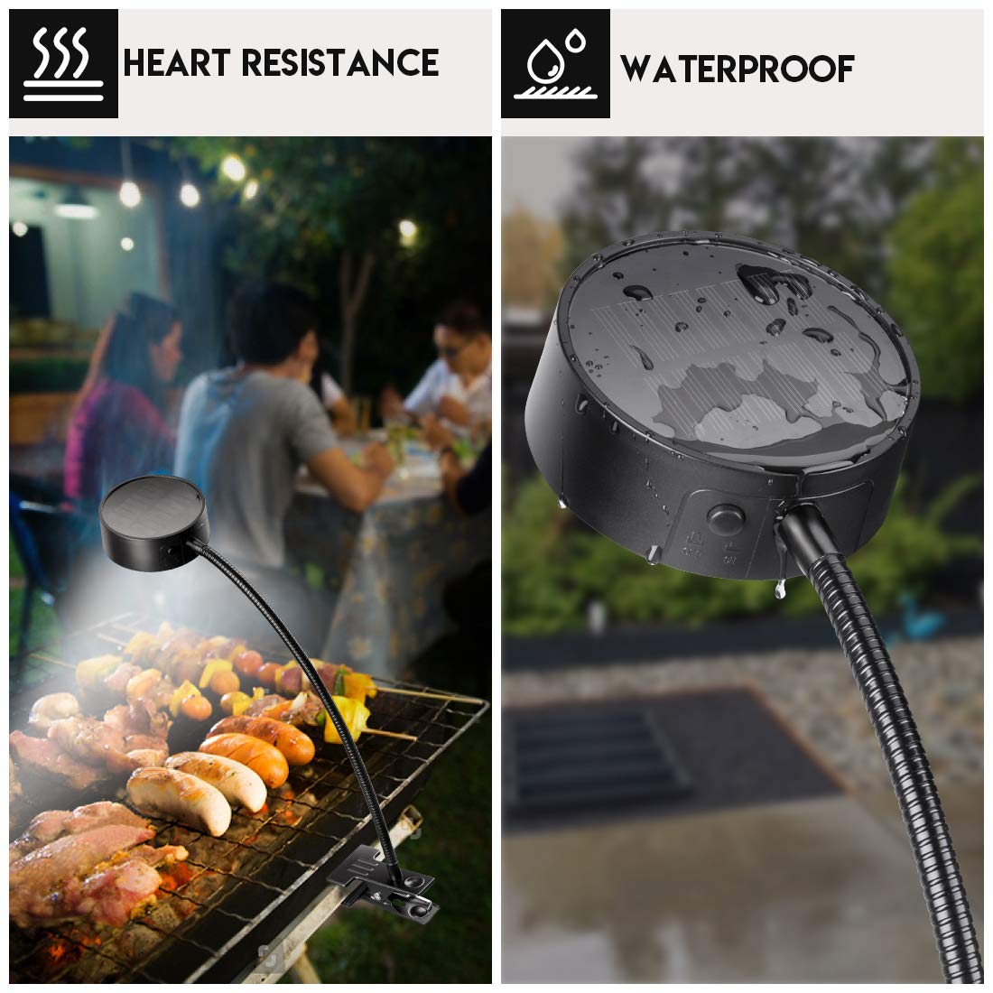 LeiDrail Grill Light LED Solar BBQ Lights Super Bright Wide-Angle Barbecue Lamp Flexible Gooseneck Outdoor Waterproof Anti-Shedding Clip for Charcoal Electric Desk Work Bench by LeiDrail (Image #3)