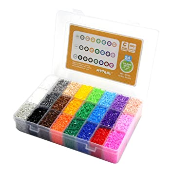 610VhG7P3KL._SY355_ amazon com artkal beads c 2 6mm mini fuse beads 24 colors 28,200 fuse storage box at creativeand.co