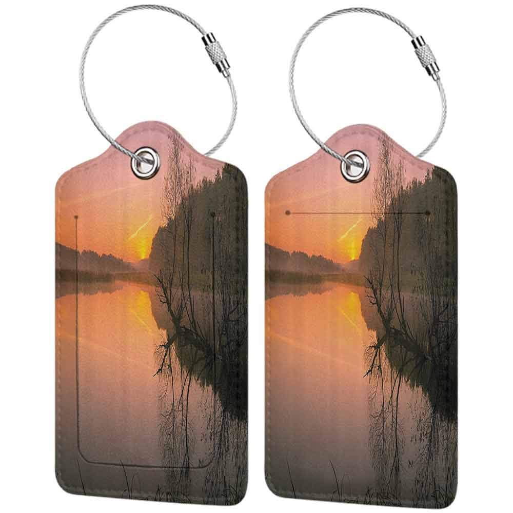 Soft luggage tag Lake House Decor Collection Misty Morning Sunrise Tree Silhouettes Sunlight Riverbank Lake Colorful Sky Forest Fog Bendable Multi W2.7 x L4.6