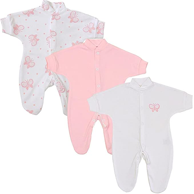 a1099e4f2 BabyPrem Bebé Prematuro 3 x Pijama Mameluco Ropa de Algodón Niñas 32-38cm  Mariposa Rosa