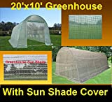 Green Garden Hot House Walk In Greenhouse 20'x10' Round Top + Sun Shade Cover - By DELTA Canopies