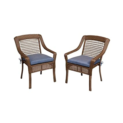 Attrayant Hampton Bay Spring Haven Brown All Weather Wicker Patio Dining Chair With  Sky Blue Cushion