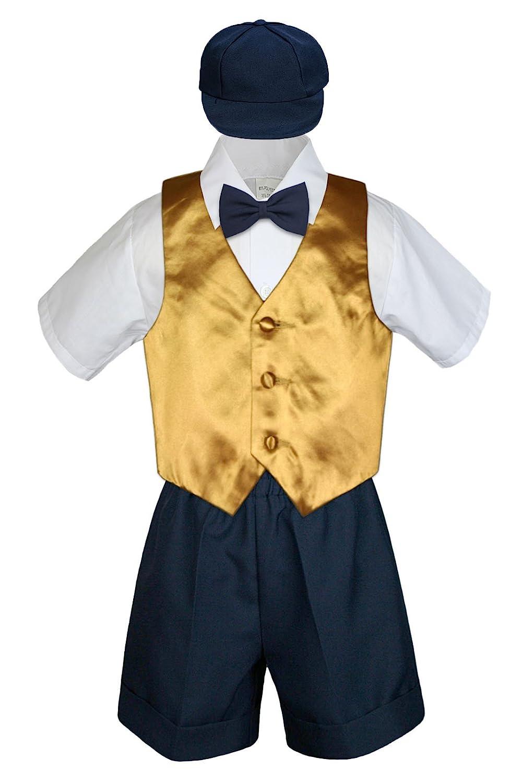 Leadertux 5pc Formal Baby Toddler Boys Gold Vest Navy Blue Shorts Suits Hat S-4T 3T