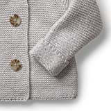 Hope & Henry Layette Grey Baby Sweater with Faux