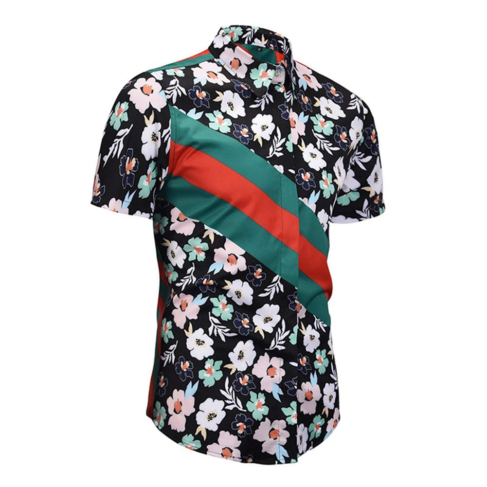 ZXLLZ Casual Ethnic Tribal Geometric Flower Swirl Print Short Sleeve Shirt Men Multicolored-3,XX-Large