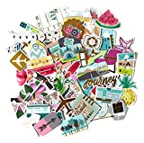 Noteworthie Gifts Happy Travel, Airplane and Tropical Vacation Stickers for Scrapbooking by Navy Peony (72 Pieces)