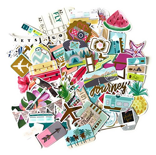 Noteworthie Gifts Happy Travel, Airplane and Tropical Vacation Stickers for Scrapbooking by Navy Peony (72 Pieces) by Noteworthie Gifts